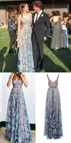 Chic Prom Dresses Spaghetti Straps Floor-length Lace Sexy Prom Dress/Evening Dress JKL188