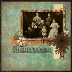 Memories In Time - Digital Scrapbooking - Family History.  This is a photo of a photo of what is possibly Joseph Haydon and his family. Joseph immigrated to NZ and his family was based in Prebbleton. He also farmed in Argentina. Layout by me, Honeymoon (Fiona B).  Kit: Crossroads Page Kit by Lauren Bavin Forgotten Roads Page Kit by Lauren Bavin [cream flower] Title: Family History Deluxe Word Art Set by Lauren Bavin