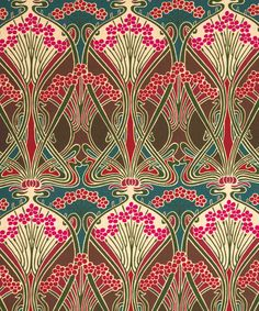 Chestnut Ianthe Linen Union The concept for this furnishing fabric was created by well known French Art Nouveau designer, R.Beauclair, in approximately Motifs Art Nouveau, Design Art Nouveau, Art Nouveau Interior, Art Nouveau Pattern, Papier Peint Art Nouveau, Klimt, Art Deco Fabric, Fabric Design, Luis Xiv