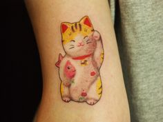 japanese traditional lucky cat tattoo arm  tokyo tifanatattoo