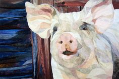 David Taylor quilts a portrait of a WHITE PIG, because he is Exactly. That. Awesome.