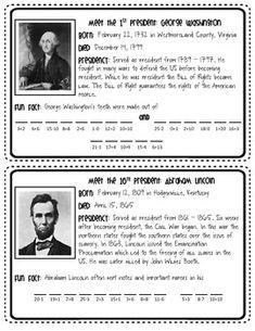 Presidents Day Fun Fact Freebie
