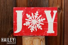 Joy Hand Painted Distressed Wood Sign, Christmas Decor, Holiday Sign, Holiday Decor by HaileyJasmineDesigns on Etsy https://www.etsy.com/listing/209126260/joy-hand-painted-distressed-wood-sign