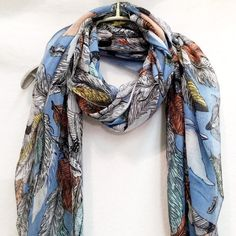 Feathers Spring Summer / Autumn Light Blue Scarf