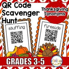 Students will work their way around the room using QR Code Clues! This QR Code Scavenger Hunt asks students to locate synonyms for 10 different Thanksgiving-themed words. Students can work independently, in pairs, or as small groups. Hang the clues around the room and students will use/solve the clues given to move to the next card.