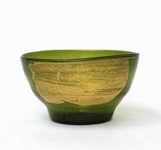 Wine Bottle Bowl with Gold Leaf by Nanda Soderberg: Art Glass Bowl available at www.artfulhome.com