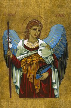 Medieval style painting of Archangel Raphael by Bev Dunbar The Gilded Image
