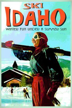 Ski IDAHO Travel Tourism Winter Sports Poster -Boise Sun Valley Art Print 123