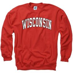 Wisconsin Badgers Adult Classic Arch Crewneck Sweatshirt ($25) ❤ liked on Polyvore featuring tops, hoodies, sweatshirts, crewneck sweatshirt, sports sweatshirts, crew neck tops, crew neck sweatshirts と red sweatshirt