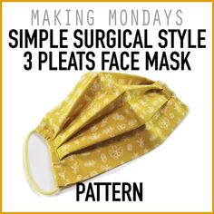 Mar 2020 - The Simple Surgical Style 3 Pleats Face Mask is made of 2 layers . - Mar 2020 – The Simple Surgical Style 3 Pleats Face Mask is made of 2 layers of fabric (not inc - Easy Face Masks, Homemade Face Masks, Diy Face Mask, Sewing Patterns Free, Free Pattern, Pattern Sewing, Free Sewing, Pocket Pattern, Sewing Hacks