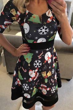 Cute Jolly Christmas Cartoon Print Black A-line Dress