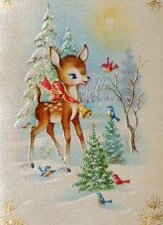 Christmas deer with Christmas cheer Vintage Christmas Images, Christmas Scenes, Christmas Cards To Make, Christmas Deer, Christmas Past, Retro Christmas, Vintage Holiday, Christmas Pictures, Christmas Greetings