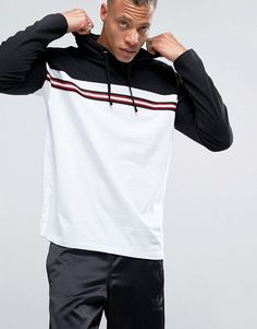 ASOS Oversized Long Sleeve Hooded T-Shirt With Contrast Taping - White