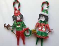 Japanese Chin CHRISTMAS ornaments UGLY SWEATER dog ornaments vintage style chenille ornaments set of 2