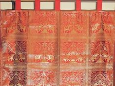 Unique Brocade Gold Russet Elephant Weave Window Treatments Indian Curtain Panel