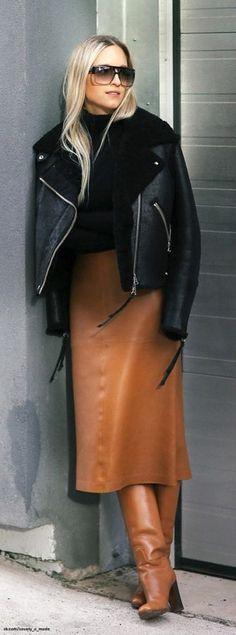 Look! Кожаные юбки длины миди в образах! 0