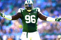 EAST RUTHERFORD, NJ - SEPTEMBER 28: Muhammad Wilkerson #96 of the New York Jets reacts during their game against the Detroit Lions at MetLife Stadium on September 28, 2014 in East Rutherford, New Jersey. (1277×853)