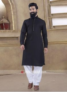 Exclusive Black Pathani Suit Engagement Dress For Men, Cotton Silk Fabric, Kurta Men, Fancy Buttons, Eid Outfits, Stylish Boys, Black Linen, White Fabrics, Lehenga Choli