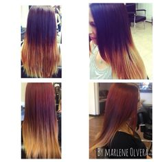 Before and after ombre to red ombre Done by me