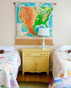 Another cute dresser and the map is super cool (for boys bedroom)