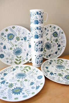 Texas Ware Melmac Flower Plates and Cups