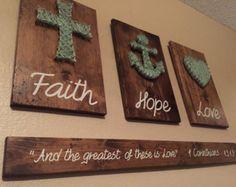 Faith Hope and Love Wire hung sign Faith Hope and by SignsByFaith
