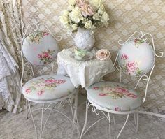 Set of 2 Shabby Chic Ice Cream Parlor Chairs, Pair of white Twisted Iron Ice Cream Chairs,Garden, wedding chairs,floral upholstered seats