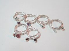 Gemstone stack ring Initial stack ring Thin silver by Viyoli