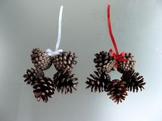 Pine cone stars- can decorate further with spray paint, sequins or just leave au nautral.