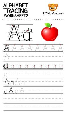 Alphabet Tracing Worksheets A-Z free Printable for Preschooler and Kindergartener. This Alphabet Tracing is a great activity for kids to practice letter recognition and handwriting skills. Printable letter A tracing worksheet. Free Printable Alphabet Worksheets, Alphabet Writing Worksheets, Alphabet Writing Practice, Letter Worksheets, Alphabet For Kids, Preschool Alphabet, Printable Letters, Preschool Kindergarten, Az Alphabet