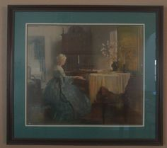 After procuring this very aged and delicate print from a thrift store, I reframed and matted it to add color.
