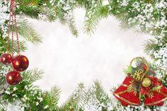 Новогодняя рамка - снег на ветвях