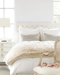 au lit fine linens ivory fur throw with tufted headboard