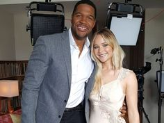 Jennifer Lawrence with Michael Strahan for Good Morning America.