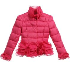 Miss Blumarine Girls Dark Pink Down Padded Puffer Jacket at Childrensalon.com