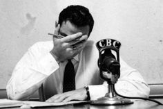 """Lorne Greene reacts while reading the news. Greene's voice eventually earned him the nickname of the """"Voice of Canada"""". But as the country entered the Second World War, his work as the primary newsreader on CBC Radio meant he was often delivering dreaded news from the front and he soon became known as the """"Voice of Doom"""" among many Canadians."""