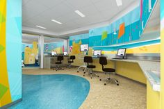 BAM Studio designed this beautiful, beach like, retreat for patients in the Pediatric MRI suite at Yale New Haven Hospital. The walls feature a large mural made from vinyl, paint and Formica Envision™ Kids Dentist, Healthcare Design, Childrens Hospital, Beautiful Beach, Pediatrics, Health Care, Walls, Paint, Interior Design