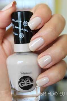 Sally Hansen Miracle Gel Nail Polish 'Birthday Suit' Trying this for the time. It applies smoothly & easily. It's still hard to find in Northern Kentucky. Gel Nail Colors, Gel Color, Love Nails, How To Do Nails, Gel Nail Polish, Gel Nails, Nail Polishes, Sally Hansen Nails, Miracle Gel Sally Hansen