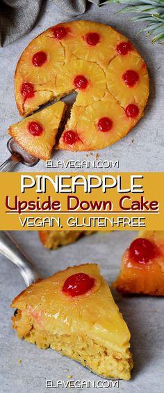 Vegan Pineapple Upside Down Cake Vegan pineapple upside down cake from scratch! Not only is this easy recipe vegan (dairy-free, egg-free), but it's also gluten-free, refined sugar-free, and healthier than most classic pineapple upside down cakes! Dessert Sans Gluten, Vegan Dessert Recipes, Easy Cake Recipes, Delicious Vegan Recipes, Vegan Sweets, Dairy Free Recipes Easy, Gluten Free Cakes, Gluten Free Desserts, Pineapple Upside Down Cake From Scratch