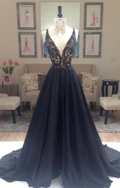 Cute v-neck lace top deep blue chiffon prom dress, long evening dress for teens
