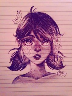 Marinette sketch with pen, made by Miraculous Lover