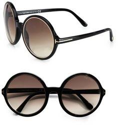 028743e9b57 Tom Ford - Black Carrie Round Plastic Sunglasses - Lyst