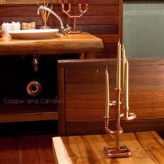 Copper pipe candle stick