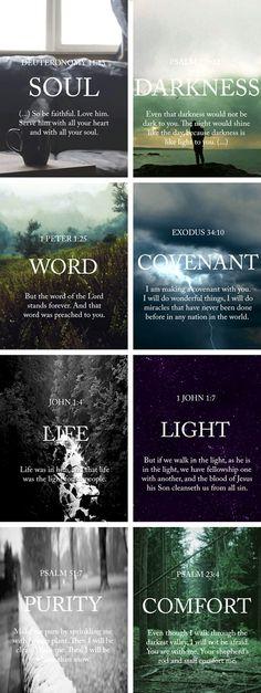 Deuteronomy 11:13, Psalm 139:12, 1 Peter 1:25, Exodus 34:10, John 1:4, 1 John 1:7, Psalm 51:7, Psalm 23:4:
