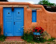 Adobe Walls Fine Art Photography Blue Doors Chile by Masbeyondo
