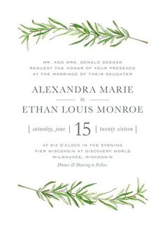 Simple and traditional wedding invitation featuring sprigs of rosemary.