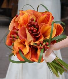 Liz Runner-Up Bouquet - Great look - Liz loves callas, berries and bear grass - she loves roses, too, and what a great thing with the venue - The Sparks Rose Garden