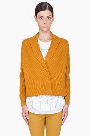 3.1 PHILLIP LIM Mustard Cropped Wool Cardigan