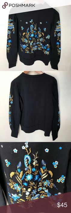 $40 BLOWOUT! Drew crewneck sweatshirt NWT NWT Anthropologie brand DREW beautiful blue & gold floral embroidered patterned crewneck sweatshirt size Extra Small originally $216. I have the cheapest price for this on Poshmark so price is firm on this particular item. Feel free to make any reasonable offers using the Offer button and plz don't haggle in the comments section. No trades. DREW Tops Sweatshirts & Hoodies