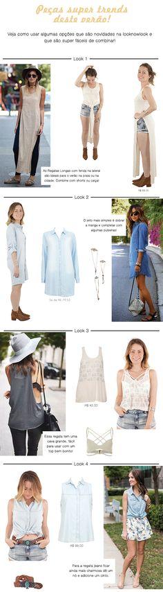 Peças super trend para o verão! | T-shirt Longa, Chemisa Jeans, Maxi Tee, Colete Jeans, Strappy Top. #moda #look #getthelook #looknowlook